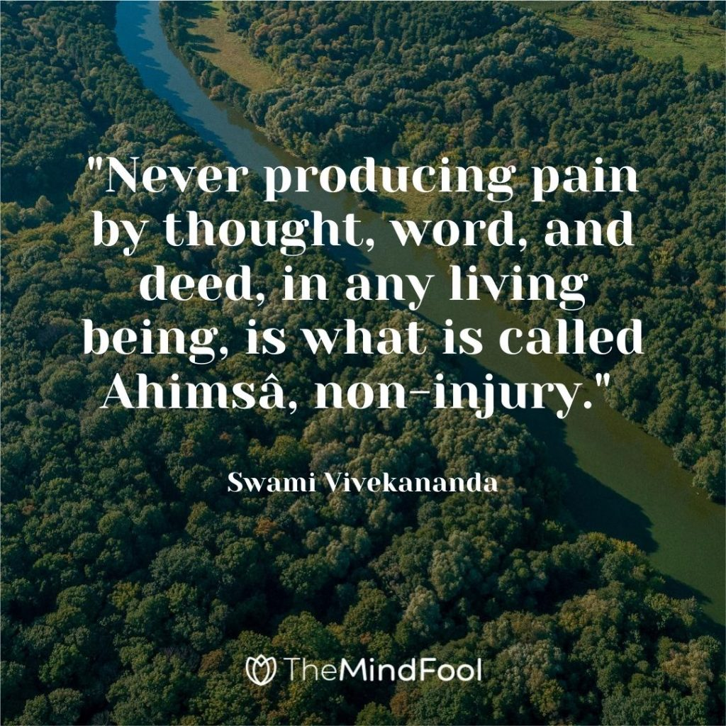 """""""Never producing pain by thought, word, and deed, in any living being, is what is called Ahimsâ, non-injury."""" ~ Swami Vivekananda"""