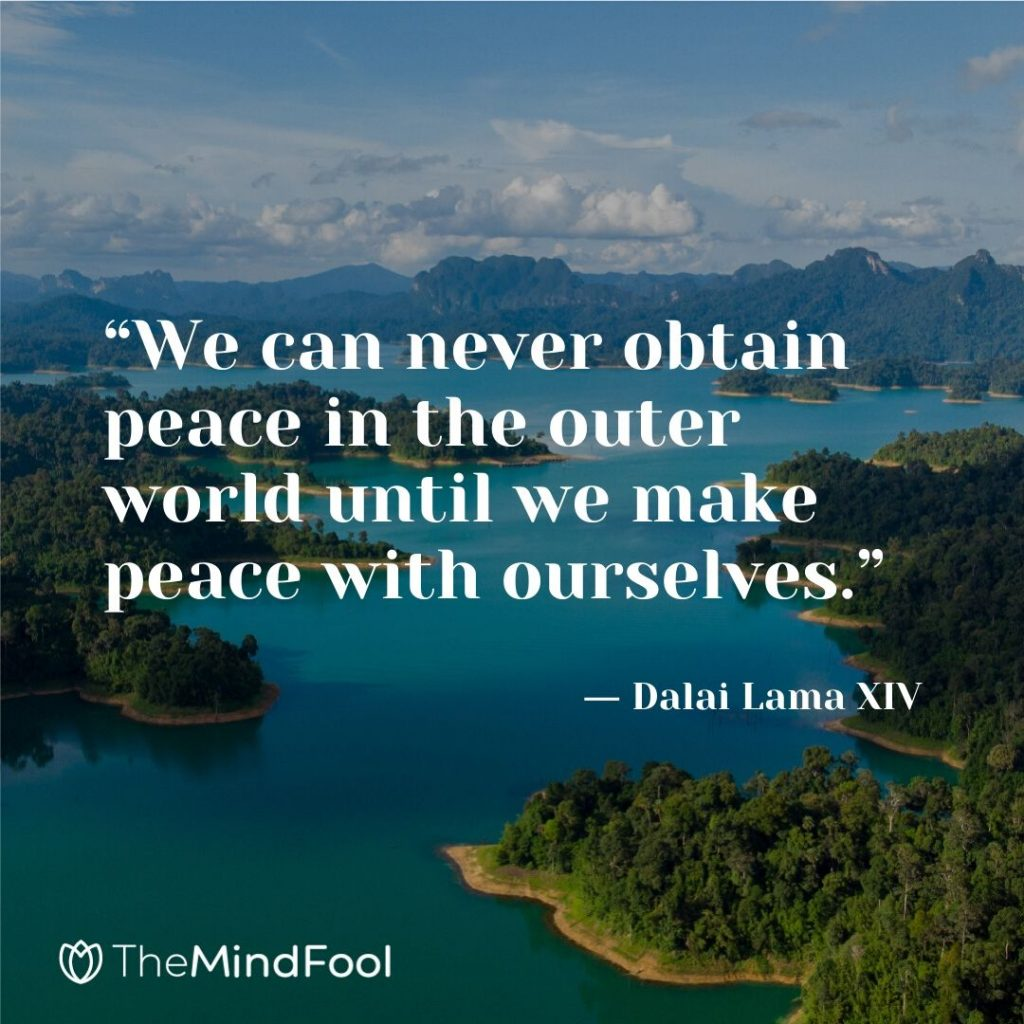 """We can never obtain peace in the outer world until we make peace with ourselves."" ― Dalai Lama XIV"