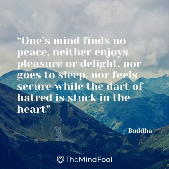 """One's mind finds no peace, neither enjoys pleasure or delight, nor goes to sleep, nor feels secure while the dart of hatred is stuck in the heart"" - Buddha"