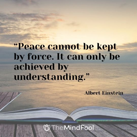 """Peace cannot be kept by force. It can only be achieved by understanding."" – Albert Einstein"