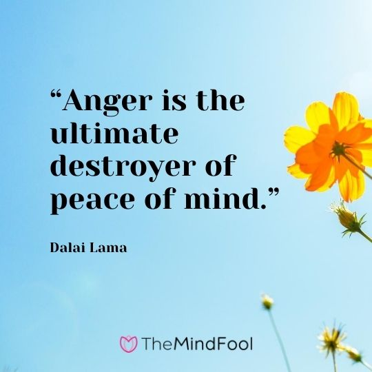 """Anger is the ultimate destroyer of peace of mind."" – Dalai Lama"