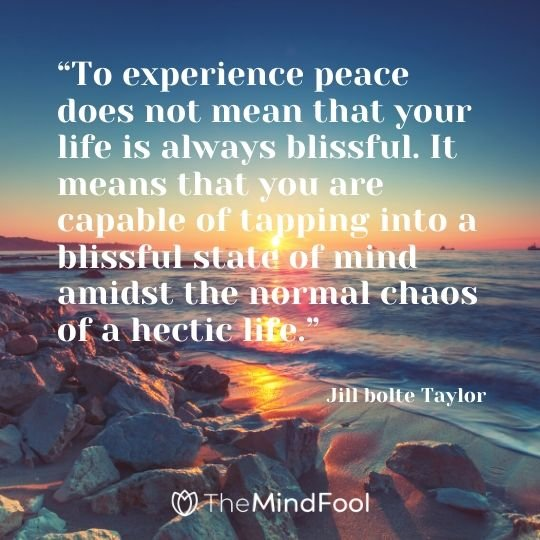 """To experience peace does not mean that your life is always blissful. It means that you are capable of tapping into a blissful state of mind amidst the normal chaos of a hectic life."" – Jill bolte Taylor"