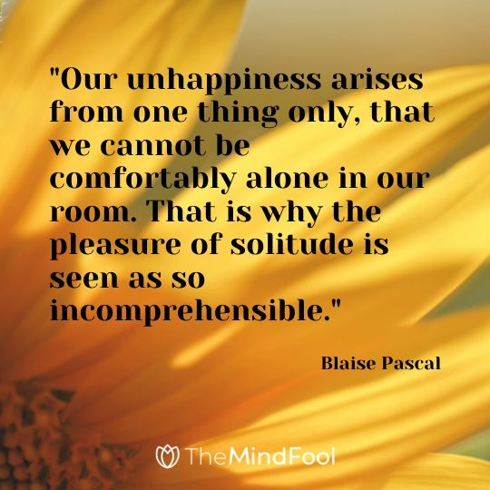 """""""Our unhappiness arises from one thing only, that we cannot be comfortably alone in our room. That is why the pleasure of solitude is seen as so incomprehensible."""" - Blaise Pascal"""