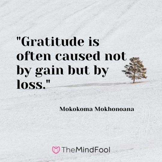 """Gratitude is often caused not by gain but by loss."" - Mokokoma Mokhonoana"