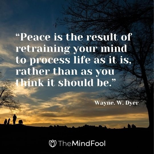 """Peace is the result of retraining your mind to process life as it is, rather than as you think it should be."" – Wayne. W. Dyer"