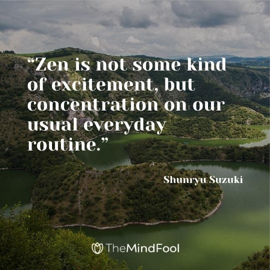"""Zen is not some kind of excitement, but concentration on our usual everyday routine."" - Shunryu Suzuki"