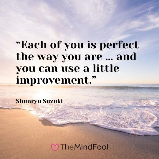 """Each of you is perfect the way you are ... and you can use a little improvement."" ― Shunryu Suzuki"