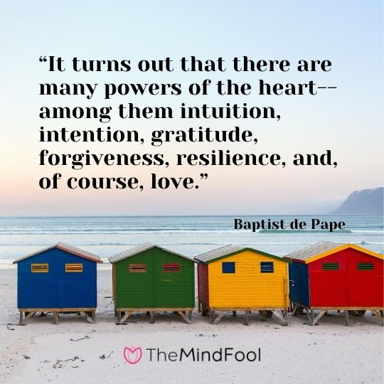 """It turns out that there are many powers of the heart--among them intuition, intention, gratitude, forgiveness, resilience, and, of course, love."" - Baptist de Pape"