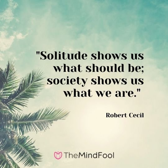 """Solitude shows us what should be; society shows us what we are."" - Robert Cecil"