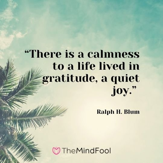 """There is a calmness to a life lived in gratitude, a quiet joy."" – Ralph H. Blum"