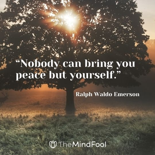 """Nobody can bring you peace but yourself."" - Ralph Waldo Emerson"