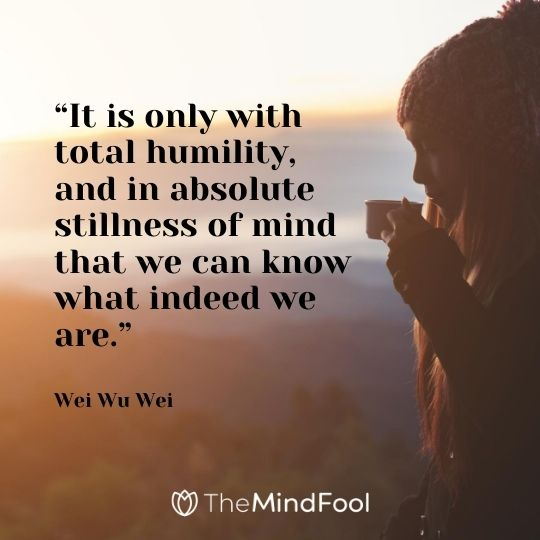 """It is only with total humility, and in absolute stillness of mind that we can know what indeed we are."" - Wei Wu Wei"