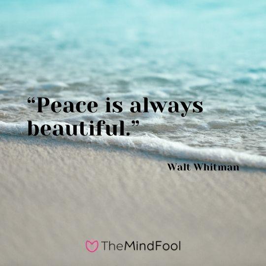 """""""Peace is always beautiful."""" - Walt Whitman"""