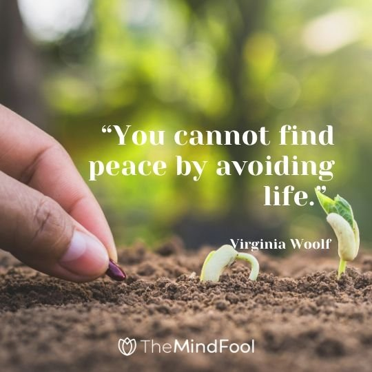 """You cannot find peace by avoiding life."" - Virginia Woolf"