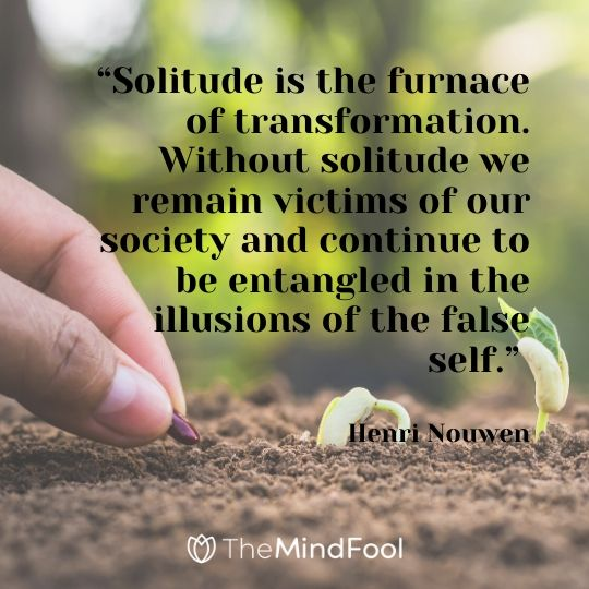 """""""Solitude is the furnace of transformation. Without solitude we remain victims of our society and continue to be entangled in the illusions of the false self."""" - Henri Nouwen"""