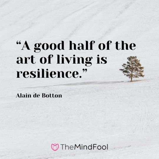 """A good half of the art of living is resilience."" - Alain de Botton"