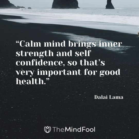 """Calm mind brings inner strength and self confidence, so that's very important for good health."" – Dalai Lama"