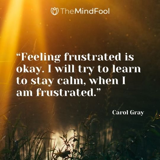 """Feeling frustrated is okay. I will try to learn to stay calm, when I am frustrated."" – Carol Gray"