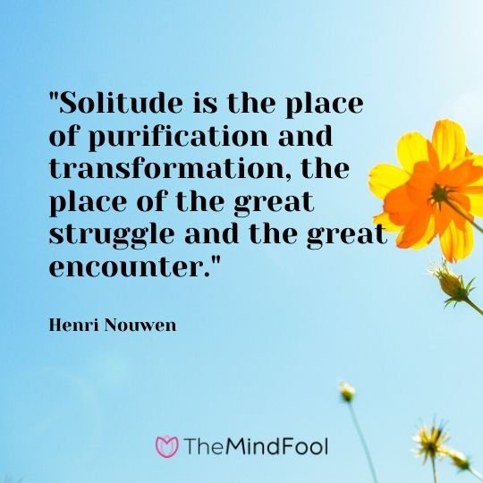 """Solitude is the place of purification and transformation, the place of the great struggle and the great encounter."" - Henri Nouwen"