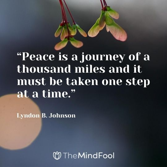 """Peace is a journey of a thousand miles and it must be taken one step at a time."" – Lyndon B. Johnson"