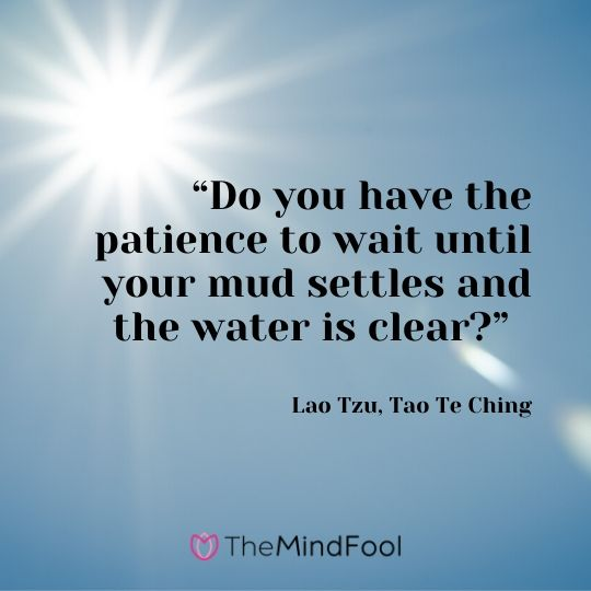 """Do you have the patience to wait until your mud settles and the water is clear?"" - Lao Tzu, Tao Te Ching"