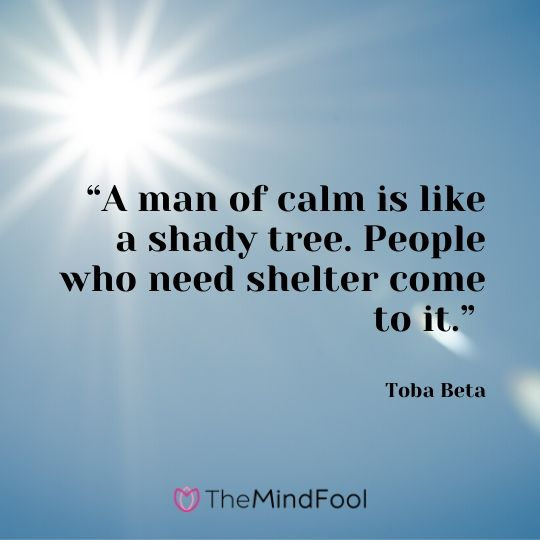 """A man of calm is like a shady tree. People who need shelter come to it."" – Toba Beta"