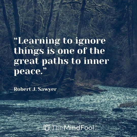 """Learning to ignore things is one of the great paths to inner peace."" – Robert J. Sawyer"