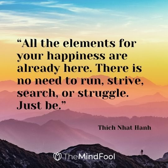 """All the elements for your happiness are already here. There is no need to run, strive, search, or struggle. Just be."" - Thich Nhat Hanh"
