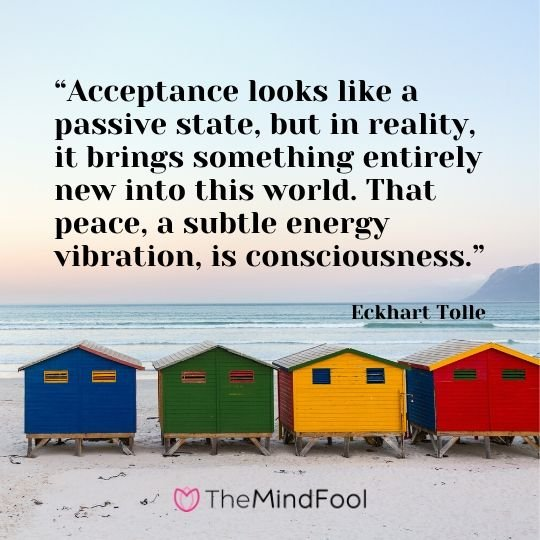 """Acceptance looks like a passive state, but in reality, it brings something entirely new into this world. That peace, a subtle energy vibration, is consciousness."" - Eckhart Tolle"