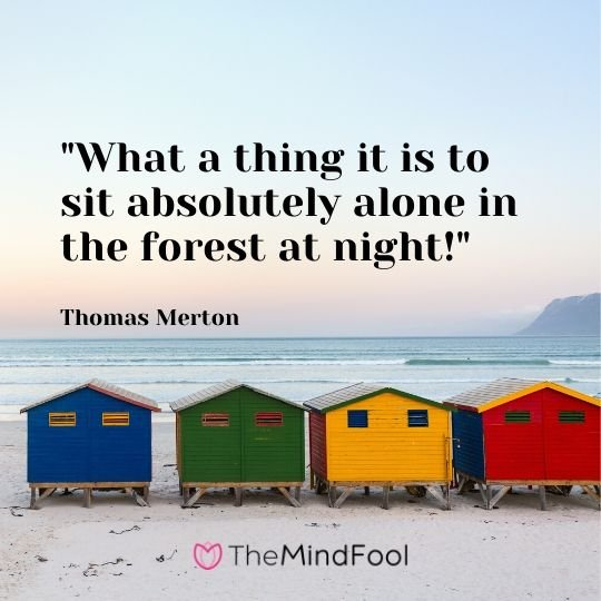 """What a thing it is to sit absolutely alone in the forest at night!"" - Thomas Merton"