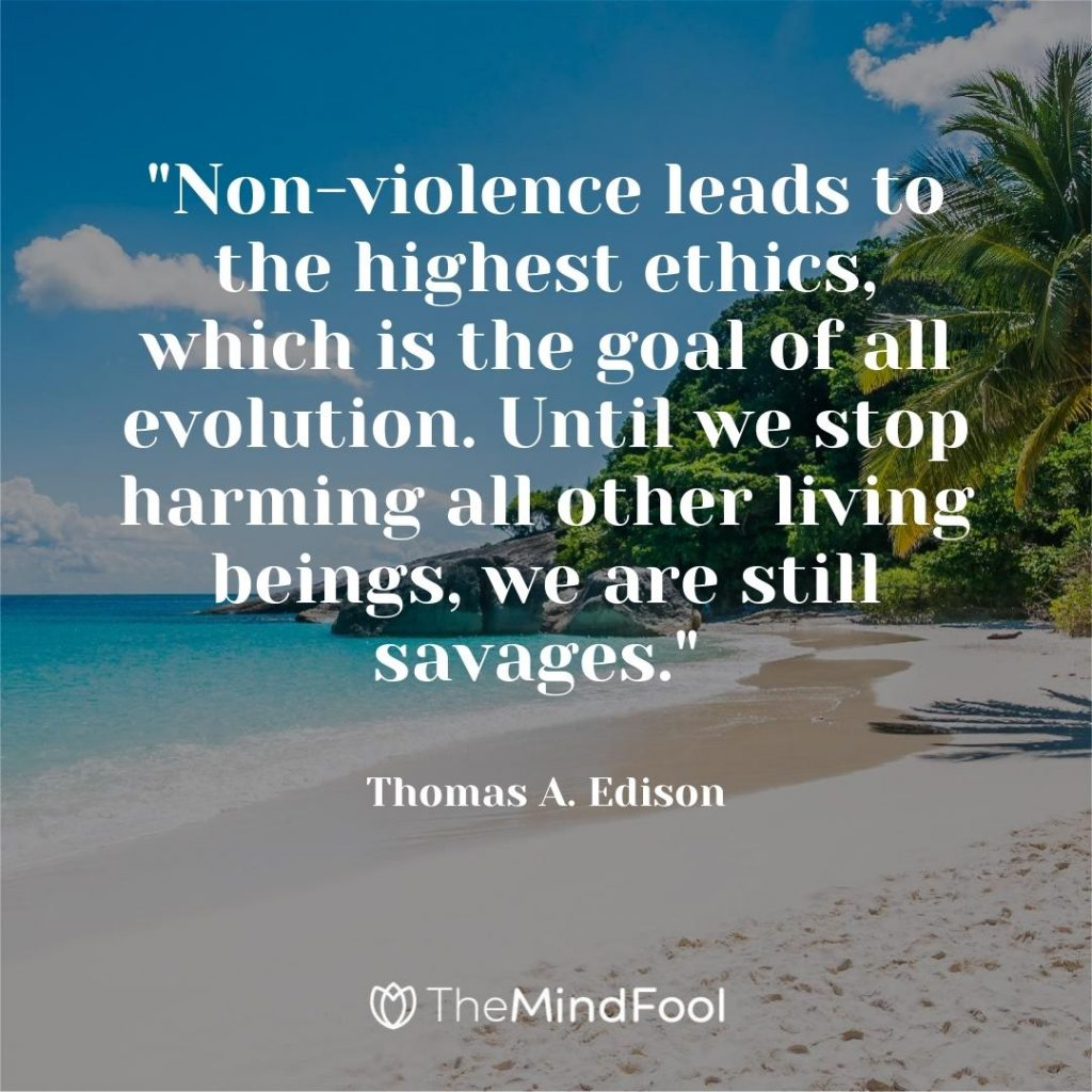 """""""Non-violence leads to the highest ethics, which is the goal of all evolution. Until we stop harming all other living beings, we are still savages."""" ~ Thomas A. Edison"""