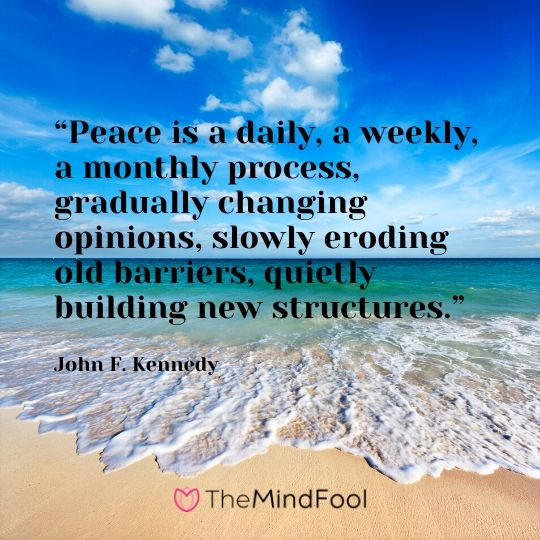 """Peace is a daily, a weekly, a monthly process, gradually changing opinions, slowly eroding old barriers, quietly building new structures."" - John F. Kennedy"