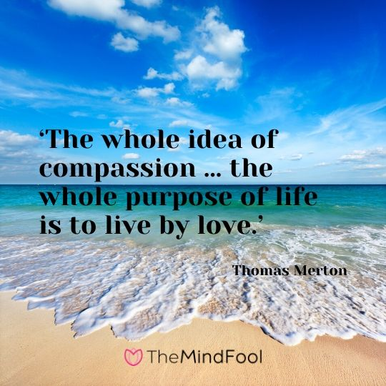 'The whole idea of compassion … the whole purpose of life is to live by love.' - Thomas Merton