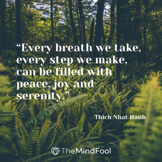 """Every breath we take, every step we make, can be filled with peace, joy and serenity."" - Thich Nhat Hanh"