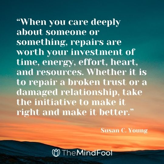 """When you care deeply about someone or something, repairs are worth your investment of time, energy, effort, heart, and resources. Whether it is to repair a broken trust or a damaged relationship, take the initiative to make it right and make it better."" - Susan C. Young"