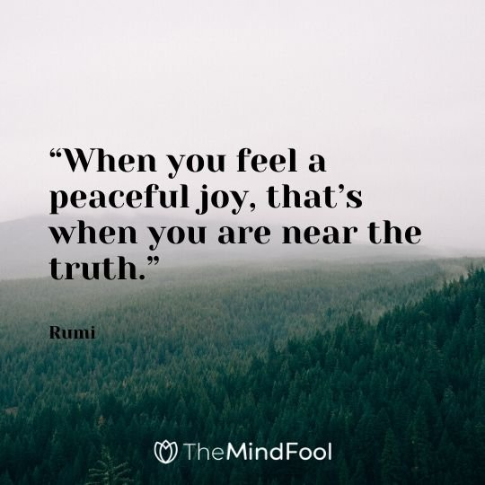 """When you feel a peaceful joy, that's when you are near the truth."" - Rumi"