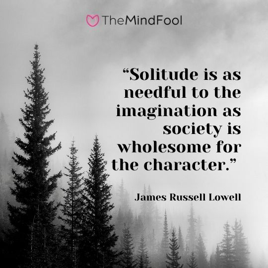 """Solitude is as needful to the imagination as society is wholesome for the character."" – James Russell Lowell"