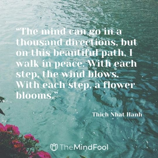 """The mind can go in a thousand directions, but on this beautiful path, I walk in peace. With each step, the wind blows. With each step, a flower blooms."" ― Thich Nhat Hanh"
