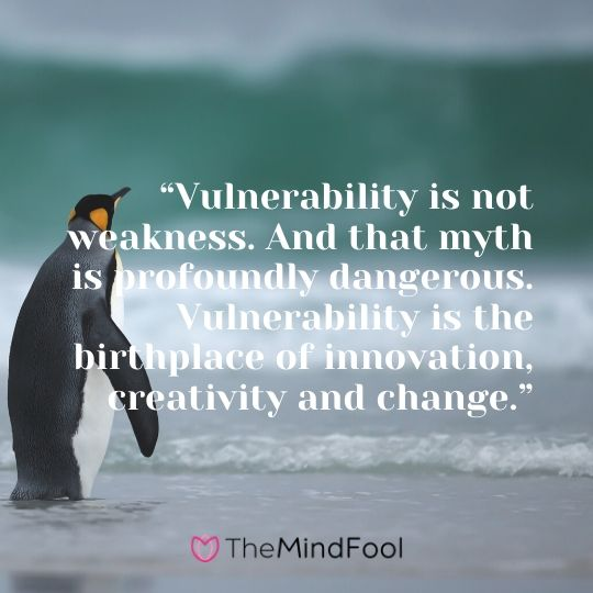 """Vulnerability is not weakness. And that myth is profoundly dangerous. Vulnerability is the birthplace of innovation, creativity and change."""