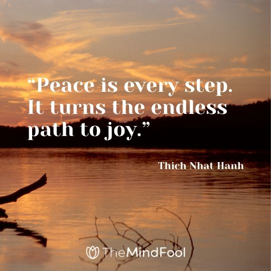 """Peace is every step. It turns the endless path to joy."" - Thich Nhat Hanh"