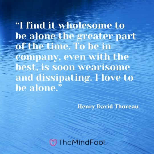 """""""I find it wholesome to be alone the greater part of the time. To be in company, even with the best, is soon wearisome and dissipating. I love to be alone."""" - Henry David Thoreau"""