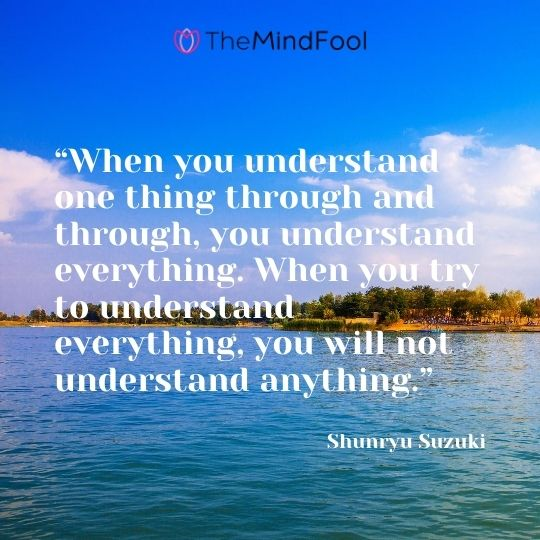 """When you understand one thing through and through, you understand everything. When you try to understand everything, you will not understand anything."" - Shunryu Suzuki"