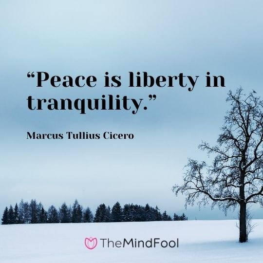 """Peace is liberty in tranquility."" – Marcus Tullius Cicero"