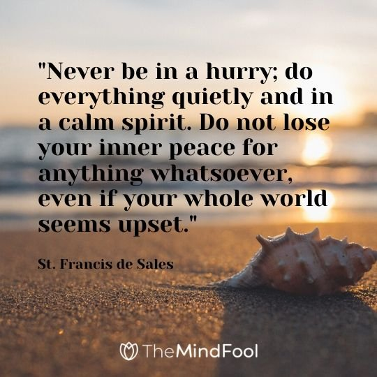 """Never be in a hurry; do everything quietly and in a calm spirit. Do not lose your inner peace for anything whatsoever, even if your whole world seems upset."" - St. Francis de Sales"
