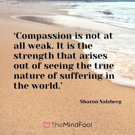 'Compassion is not at all weak. It is the strength that arises out of seeing the true nature of suffering in the world.' - Sharon Salzberg