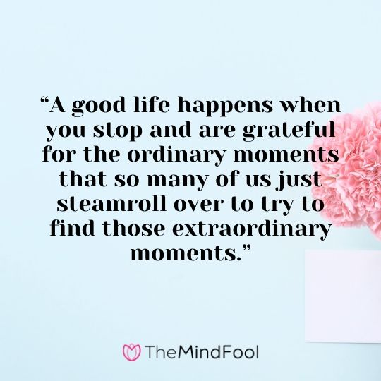 """A good life happens when you stop and are grateful for the ordinary moments that so many of us just steamroll over to try to find those extraordinary moments."""