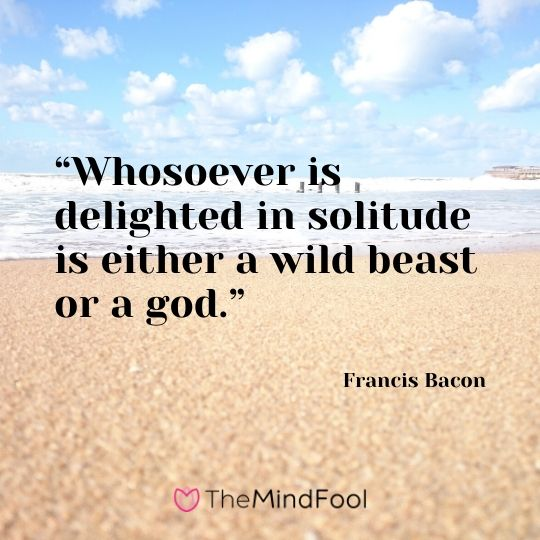 """""""Whosoever is delighted in solitude is either a wild beast or a god."""" – Francis Bacon"""