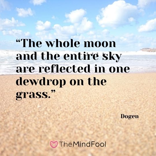 """The whole moon and the entire sky are reflected in one dewdrop on the grass."" - Dogen"