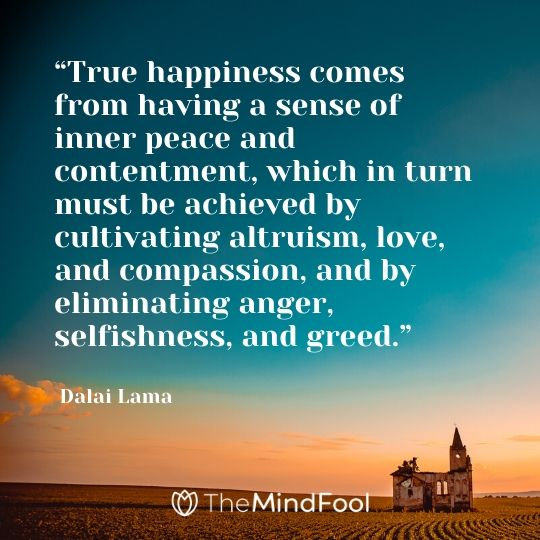 """True happiness comes from having a sense of inner peace and contentment, which in turn must be achieved by cultivating altruism, love, and compassion, and by eliminating anger, selfishness, and greed."" - Dalai Lama"