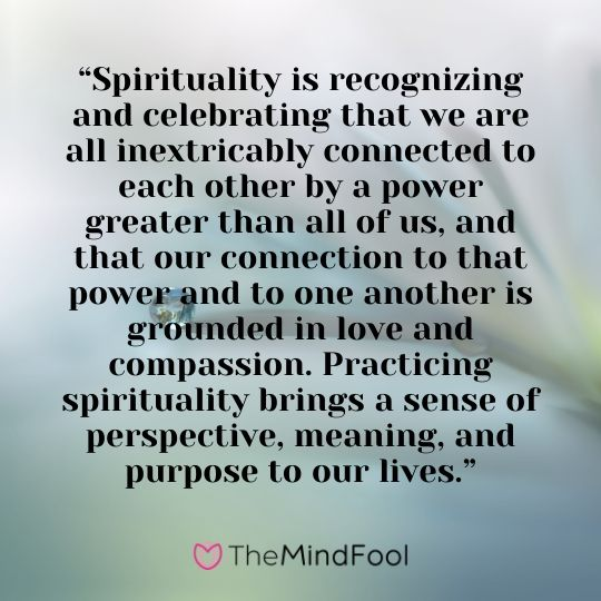 """Spirituality is recognizing and celebrating that we are all inextricably connected to each other by a power greater than all of us, and that our connection to that power and to one another is grounded in love and compassion. Practicing spirituality brings a sense of perspective, meaning, and purpose to our lives."""